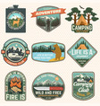 set summer camp badges concept for vector image vector image