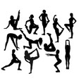 silhouettes of girl stretching and exercise vector image vector image