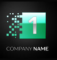 silver number one logo symbol in the green square vector image vector image