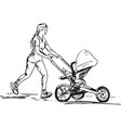 sketch of woman running with buggy vector image