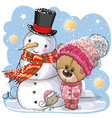 snowman and cute teddy bear girl in a hat vector image
