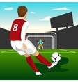 Soccer player taking penalty kick