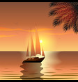 summer yacht with sails in the sea at sunset near vector image vector image