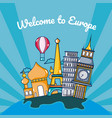 travel and discover europe cartoons over striped vector image