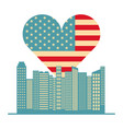 usa flag heart and buildings vector image
