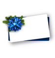 white christmas card with blue bow vector image vector image