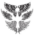 wings bird feather black white tattoo set 9 vector image vector image