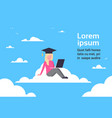 young girl student graduate sitting on cloud with vector image