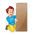 young man holding up a board vector image vector image
