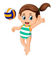 young woman playing volleyball on beach vector image vector image