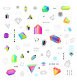 polygonal crystals icons big set vector image
