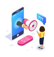 3d isometric voice message concept megaphone in vector image vector image