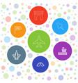 7 travel icons vector image vector image