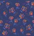 abstract flowers doodle seamless pattern vector image