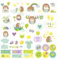 Baby Boy Hedgehog Scrapbook Set vector image vector image