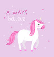 background with cute unicorn in pastel colors on vector image vector image