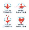 blood donation set four logo templates vector image