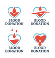 blood donation set of four logo templates vector image vector image