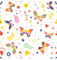 butterflies nature seamless pattern vector image vector image