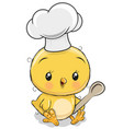 caroon chicken in a cook hat with spoon vector image