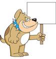 Cartoon Bulldog Holding a Sign vector image