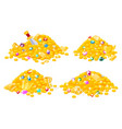 cartoon pirates treasure gold coins gems crown vector image vector image