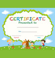 certificate template with kids planting trees vector image vector image