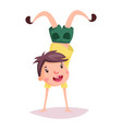 child or kid cartoon schoolboy doing handstand vector image vector image