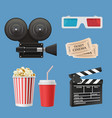 cinema 3d icons movie camcorder clapperboards vector image vector image