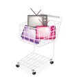 Colorful Retro Television in A Shopping Cart vector image vector image