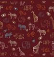 cute hand drawn african animal safari seamless vector image vector image