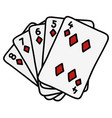 diamonds streight of poker cards vector image vector image