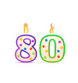 eighty years anniversary 80 number shaped vector image vector image