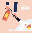 fire extinguisher and electric socket fireman vector image vector image