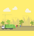 garbage transportation to dumb near the city vector image