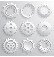 Gear wheels icon set Nine 3d gears on a gray vector image vector image