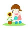 girl watering sun flower cartoon vector image vector image