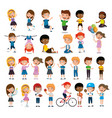 group of happy kids practicing sports characters vector image vector image