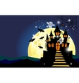 Halloween background with moon and castle vector image vector image