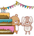 happy birthday cute animals vector image