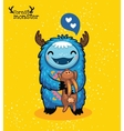Happy blue monster with hare on yellow background vector image