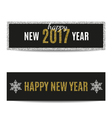 Happy New Year 2017 banners golden text and silver vector image vector image