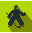 Hockey goalkeeper flat icon vector image vector image