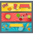 Horizontal banners with sticker kawaii doodles vector image
