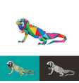 iguana reptile low poly design vector image vector image