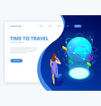isometric web banner businesswomen hold luggage vector image vector image