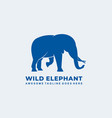 logo wild elephant blue color silhouette style vector image
