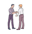 male colleagues or coworkers shaking hands vector image vector image