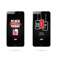 mobile phone set with black friday on it vector image vector image