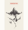 mountain peak fir forest hand drawn sketch vector image vector image